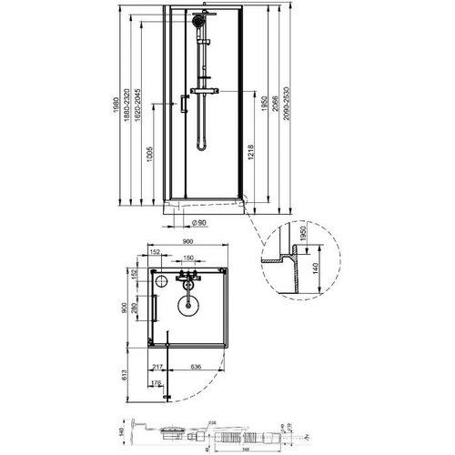 Cabine de douche cabine leda kara carr e porte pivotante - Cabine de douche porte pivotante ...