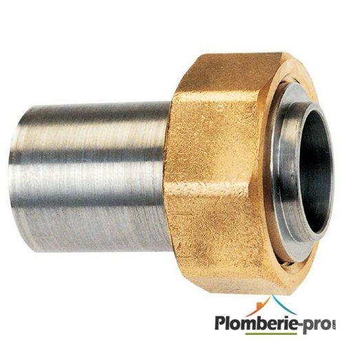Raccord gaz droit 2 pièces joint pour tube cuivre