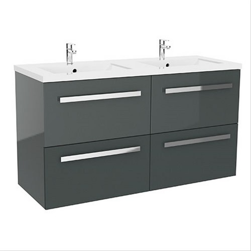 Meuble nuevo 120 gris anthracite l121xp46xh69cm l804316a lavabo - Meuble gris anthracite ...